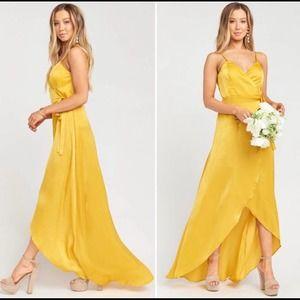 Show Me Your Mumu Gold Mariah Wrap Dress NEW XL